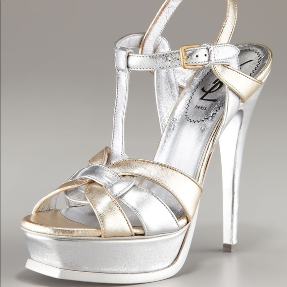 Ysl Rare!! Classic 105 Tribute Sandal In Metallic by Yves Saint Laurent